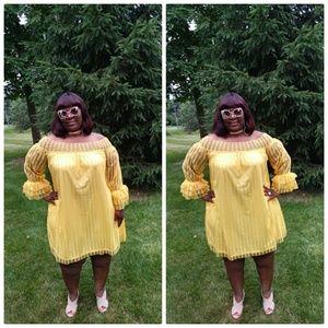 Yellow Lace Daisy Dress Plus Size